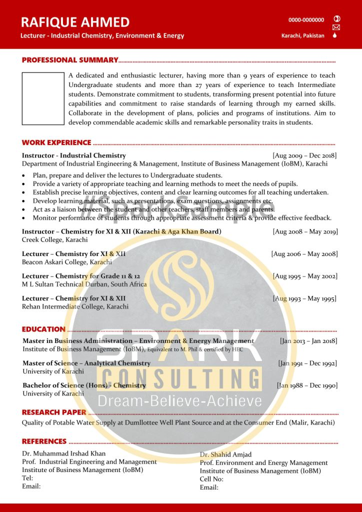 ATS Professional Lecturer Resume